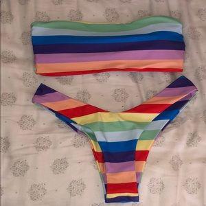 SHEIN rainbow bandeau bathing suit